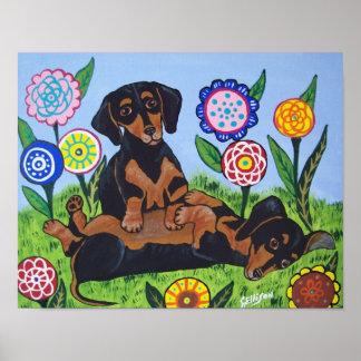 Playful Dachshunds Art Print