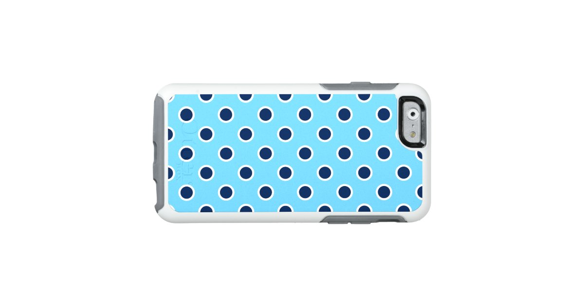 Playful dark blue polka dots on light blue otterbox iphone for Carrelage cabochon