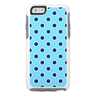 Playful Dark Blue Polka Dots on Light Blue OtterBox iPhone 6/6s Case