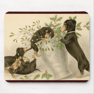 Playful daschunds with holly berry and vase mouse pad