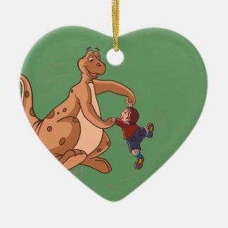 Playful Dinosaur + Child art by Sushobhan Sengupta Christmas Ornaments