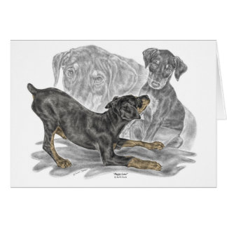 Playful Doberman Pinscher Puppies Card