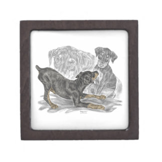 Playful Doberman Pinscher Puppies Keepsake Box