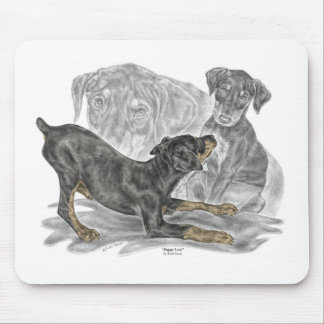 Playful Doberman Pinscher Puppies Mouse Pad