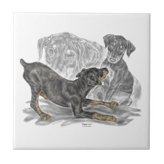 Playful Doberman Pinscher Puppies Small Square Tile