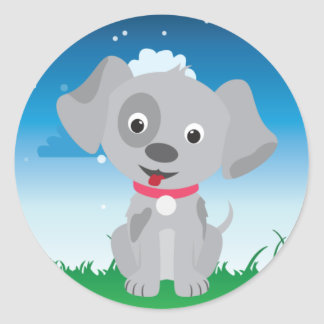 Playful Dog or Puppy Birthday Party Classic Round Sticker