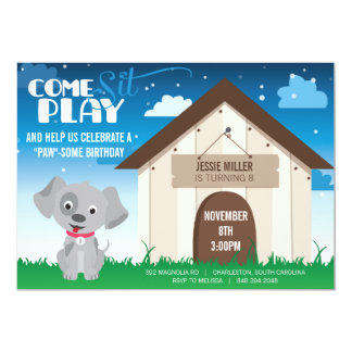 Playful Dog or Puppy Birthday Party Invitation