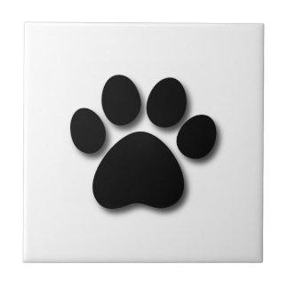 Playful Dog Paw Print for Dog Lover BLACK WHITE Ceramic Tile