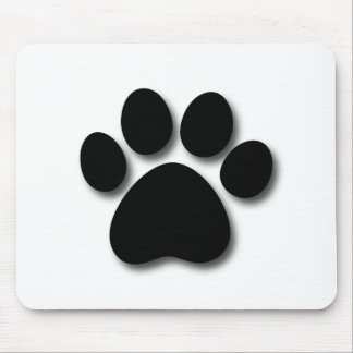Playful Dog Paw Print for Dog Lover BLACK WHITE Mouse Pad