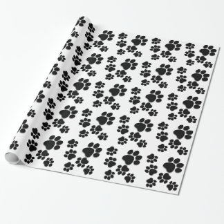 Playful Dog Paw Print for Dog Lover BLACK WHITE Gift Wrap Paper