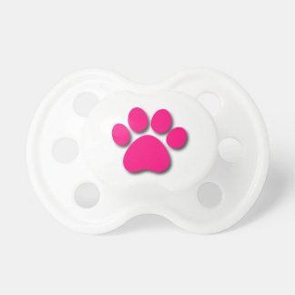 Playful Dog Paw Print for Dog Lover BRIGHT PINK Pacifier