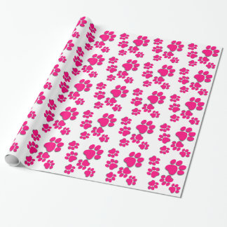 Playful Dog Paw Print for Dog Lover BRIGHT PINK Wrapping Paper