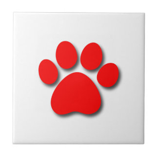 Playful Dog Paw Print for Dog Lover BRIGHT RED Ceramic Tile