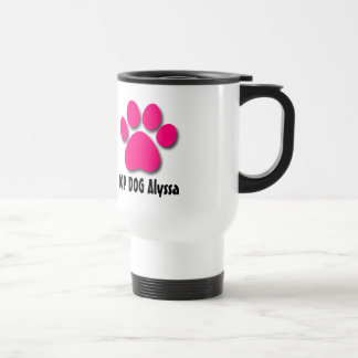 Playful Dog Paw Print for Dog Lover PINK 05 Travel Mug