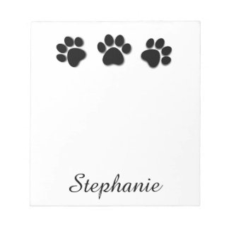 Playful Dog Paw Prints for Dog Lover BLACK 02 Notepad