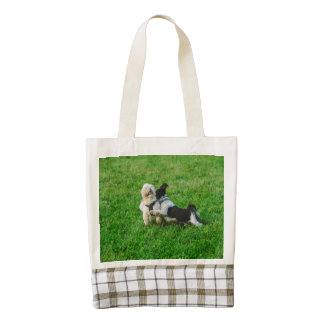 Playful dogs zazzle HEART tote bag