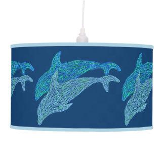 Playful Dolphin Art Hanging Light Pendant Lamp