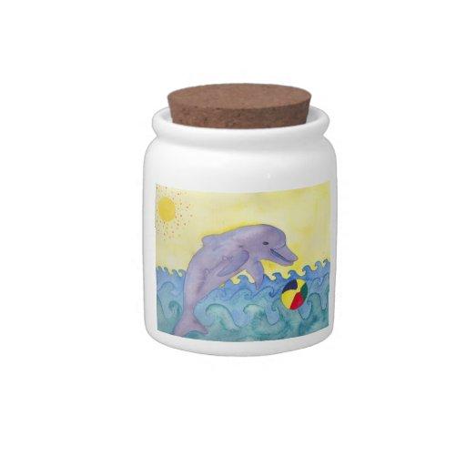 Playful dolphin candy jar