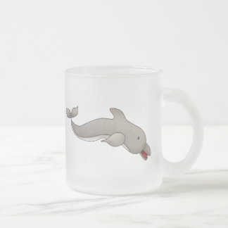 Playful Dolphin Frosted Glass Coffee Mug