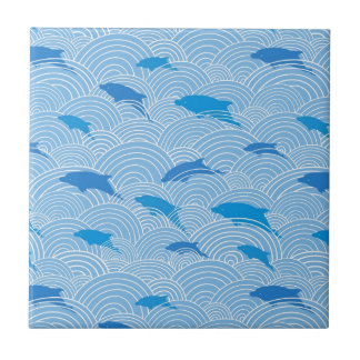 Playful dolphines pattern ceramic tile