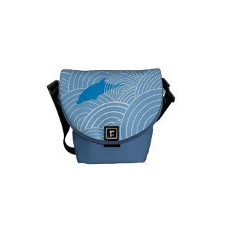 Playful dolphines pattern messenger bag