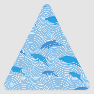 Playful dolphines pattern triangle sticker