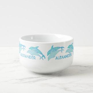 Playful Dolphins Blue Aquatic Art Sea Life Custom Soup Mug
