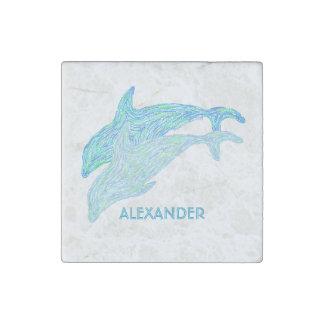 Playful Dolphins Blue Aquatic Art Sea Life Custom Stone Magnet