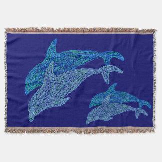 Playful Dolphins Blue Aquatic Art Sea Life Throw
