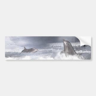 Playful dolphins bumper sticker