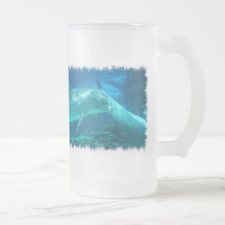 Playful Dolphins Frosted Beer Mug