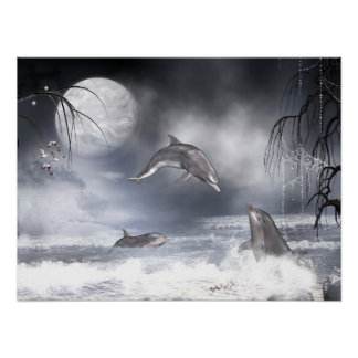 Playful dolphins print