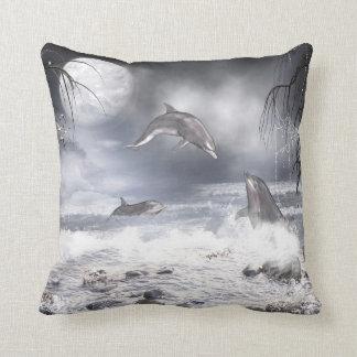 Playful dolphins throw pillow