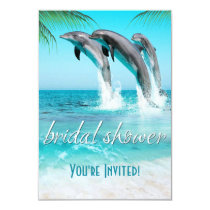 PLAYFUL DOLPHINS TROPICAL OCEAN Bridal Shower Invitation