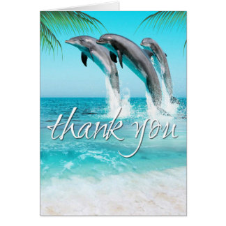 PLAYFUL DOLPHINS TROPICAL OCEAN Thank You Card