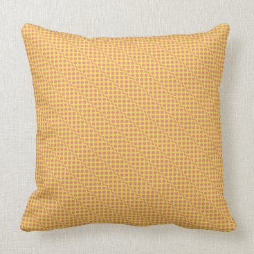 Beach Themed Playful dots pink red on yellow throw pillow