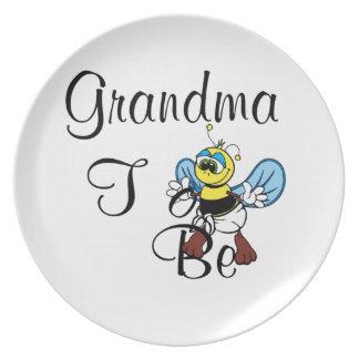 Playful Grandma To Be Dinner Plates