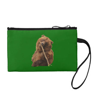 playful grizzly bear with stick coin wallet