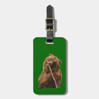playful grizzly bear with stick bag tag