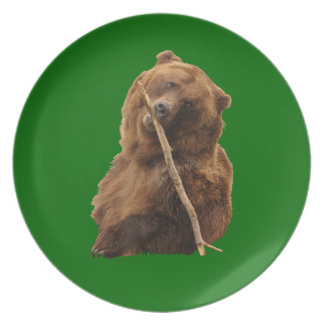 playful grizzly bear with stick dinner plate
