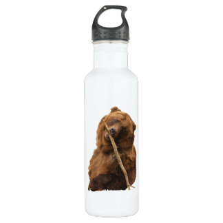 playful grizzly bear with stick stainless steel water bottle