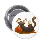 Playful Halloween Kitty White Button Buttons