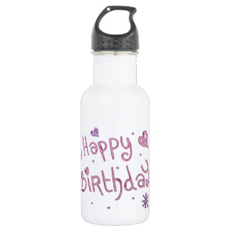 Playful Happy Birthday Text Stainless Steel Water Bottle