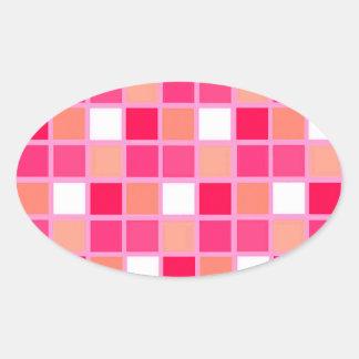 Playful Harlequin Lipstick Color Tiles Oval Sticker