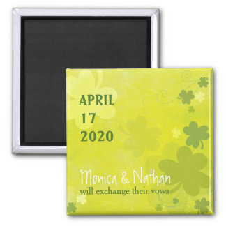 Playful Irish Shamrock Green Wedding Save the Date 2 Inch Square Magnet