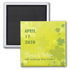 Playful Irish Shamrock Green Wedding Save The Date Magnet at Zazzle