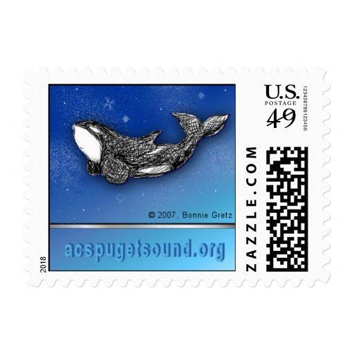 Playful killer whale in snow custom postage