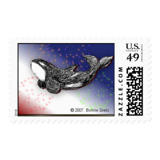 Playful Killer Whale Stamp for July