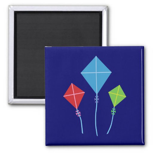 Playful Kites 2 Inch Square Magnet