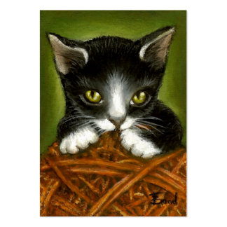 Playful kitten ACEO prints Large Business Cards (Pack Of 100)